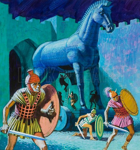 The wooden horse of Troy.  Original artwork for cover of Treasure issue no 395.  Lent for scanning by The Gallery of Illustration.
