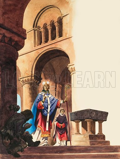 A scene in a Norman cathedral, with a beggar on the steps asking the Archbishop for a blessing while a priest looks on.  Original artwork for illustration on p16 of Treasure issue no 37 (28 August 1963).  Lent for scanning by The Gallery of Illustration.