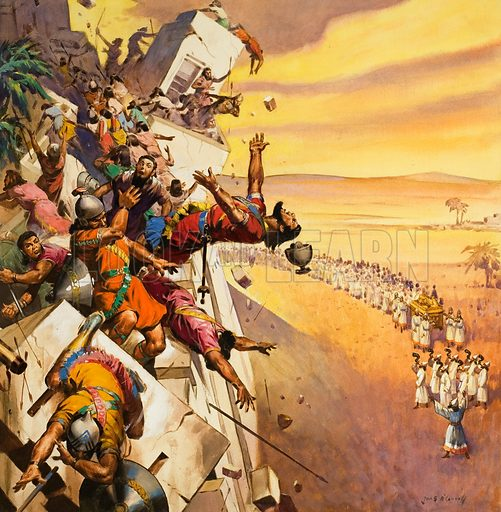 The trumpets of Joshua bringing down the walls of Jericho. Original artwork for illustration on cover of The Bible Story issue no 21.
