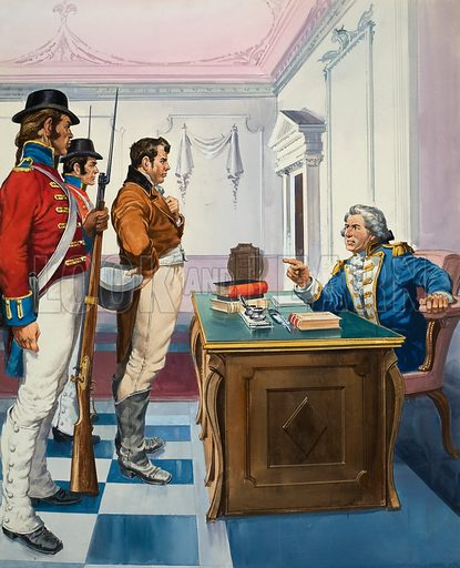 Governor Bligh of New South Wales arresting John Macarthur, the richest man in the colony, and charging him with treason.  Original artwork for illustration on p27 of Look and Learn issue no 424 (28 February 1970).  Lent for scanning by The Gallery of Illustration.