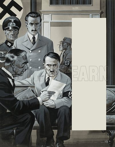 """Peace in our time,"" declared Britain's prime minister Neville Chamberlain after signing an agreement with Germany's Adolf Hitler -- but the scrap of paper meant nothing to Hitler.  Original artwork for illustration on p29 of Look and Learn issue no 261 (picture reversed and cropped in magazine).  Lent for scanning by The Gallery of Illustration."