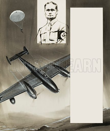 The Flight of Rudolf Hess.  Original artwork for illustration on p11 of Look and Learn issue no 270 (18 March 1967).  Lent for scanning by The Gallery of Illustration.
