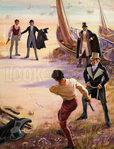 """Phineas Finn, the battling M.P., from the novel by Anthony Trollope. """"Finn staggered back, a bullet in his right shoulder. 'I'm not finished,' he shouted, clutching the wound. 'I can still shoot just as well with my left hand...'""""  Original artwork for illustration on p20 of Look and Learn issue no 57.  Lent for scanning by The Gallery of Illustration."""
