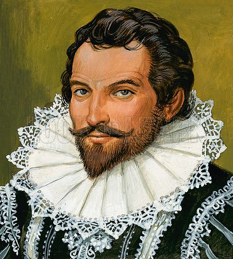 Sir Walter Raleigh (?).  Original artwork for Look and Learn (issue yet to be identified).  Lent for scanning by The Gallery of Illustration.