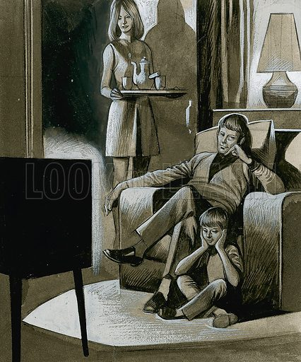 Family Watching Black and White Television in the 1960s.  Original artwork for illustration on p28 of Look and Learn issue no 363 (28 December 1968).  Lent for scanning by The Gallery of Illustration.