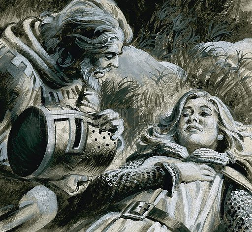 """Robin Hood and Marion Fitzwalter.  When Robin removed the """"knight's"""" helmet, he discovered it was none other than Marion Fitzwalter, the woman he loved.  Original artwork for illustration on p22 of Look and Learn issuse no 938 (12 January 1980).  Lent for scanning by The Gallery of Illustration."""