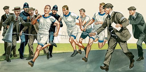 Running Race. Original artwork for Look and Learn (issue yet to be identified).