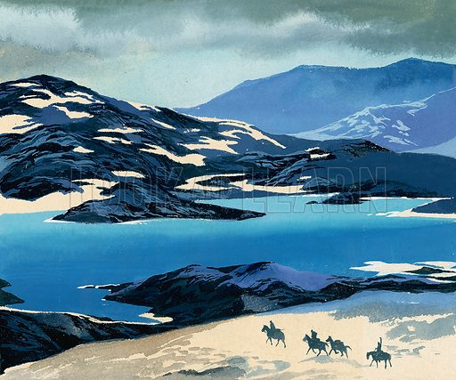 Marco Polo on the long road to China.  Original artwork for illustration on p24 of Look and Learn issue no 143 (10 October 1964).  Lent for scanning by The Gallery of Illustration.