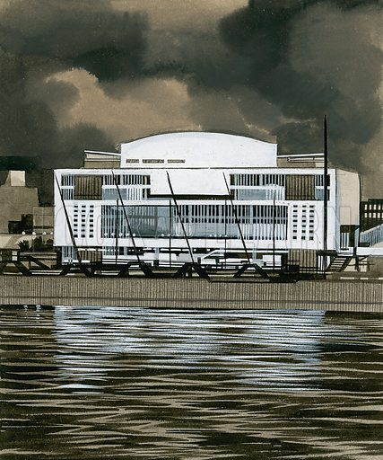 The Festival Hall.  Original artwork for illustration on p28 of Look and Learn issue no 363 (28 December 1968).  Lent for scanning by The Gallery of Illustration.