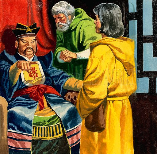 Marco Polo introducing his son to Kublai Khan.  Original artwork for illustration on p24 of Look and Learn issue no 144 (17 October 1964).  Lent for scanning by The Gallery of Illustration.