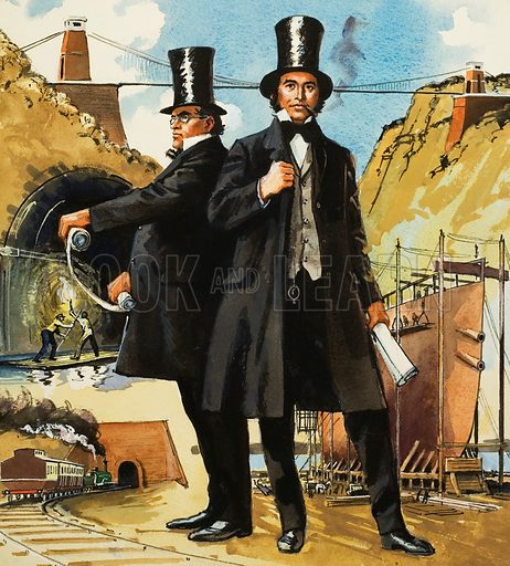 Marc and Isambard Brunel.  Tunnels, ships and bridges - these were only a few of the fields of engineering in which Marc and Isambard Brunel exercised their incredible talents, giving to Britain in the process a legacy which will survive for centuries.  Original artwork for illustration on p80 of World of Knowledge Annual 1981.  Lent for scanning by The Gallery of Illustration.