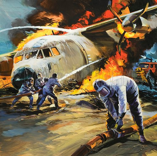 Putting out a fire after an aircraft accident. Original artwork for Look and Learn (issue yet to be identified).