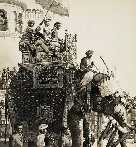 Queen Elizabeth II on an Elephant. Original artwork for illustration on p6 of Look and Learn issue no 313 (13 January 1968).