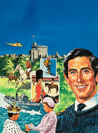 Prince Charles. Original artwork for cover of Look and Learn issue no 1000 (9 May 1981).