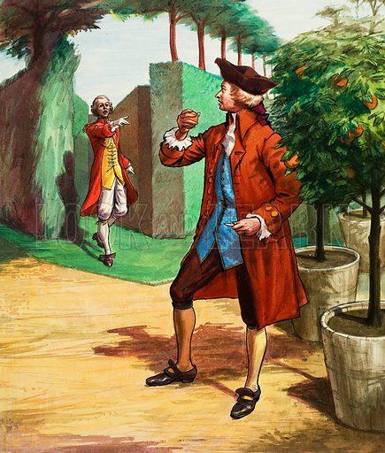 Mozart eating an orange