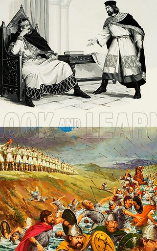 Invade England; Massacre of Varaville.  Top:  William of Normandy's chief advisor pleads with him to invade England, a moment of decision that was to change world history.  Bottom:  The Middle Ages had perfected their own guided missiles, the deadly Norman arrows which created havoc amongst the French army at the massacre of Varaville.  Original artwork for illustrations on pp10-11 of Look and Learn issue no 665 (12 October 1974).  Lent for scanning by The Gallery of Illustration.