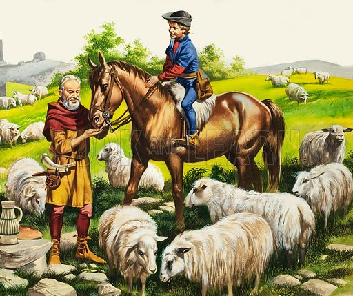 A Farmer's Boy in the Fifteenth Century. Original artwork for illustration on p5 of Look and Learn issue no 108.