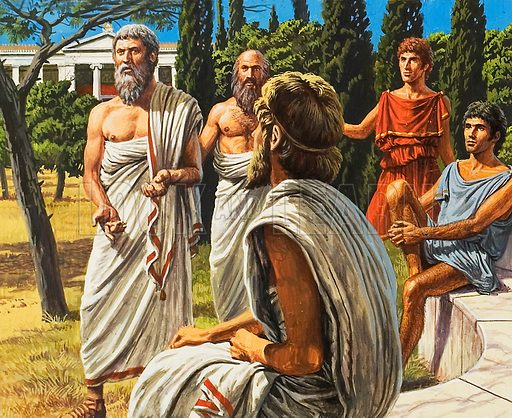 """The philospher Plato taught his students and followers in a grove called the Academia, on Athens' outskirts.  From this came our word """"academy"""", for a place of learning."""