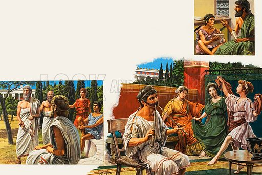 "Education in Ancient Athens.  Left: The philospher Plato taught his students and followers in a grove called the Academia, on Athens' outskirts.  From this came our word ""academy"", for a place of learning.  Centre: Music and dancing were given an important place in the education of young people in ancient Athens - both boys and girls.  The girl in the picture is dancing to the music of a two-pipe flute.  The strap worn by the flautist controls the expansion of the cheeks, ensuring a steady flow of breath into the mouthpiece of the instrument.  Top right: A writing lesson.  With his pointed stylus, the pupil inscribes his letters on a wax-covered tablet.  Original artwork for illustrations on pp8-9 of Look and Learn issue no 989 (21 February 1981).  Lent for scanning by The Gallery of Illustration."