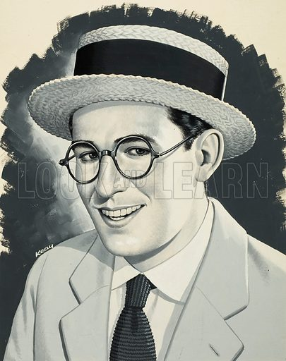 Harold Lloyd.  Original artwork for illustration on p16 of Look and Learn issue no 647 (8 June 1974).  Lent for scanning by The Gallery of Illustration.