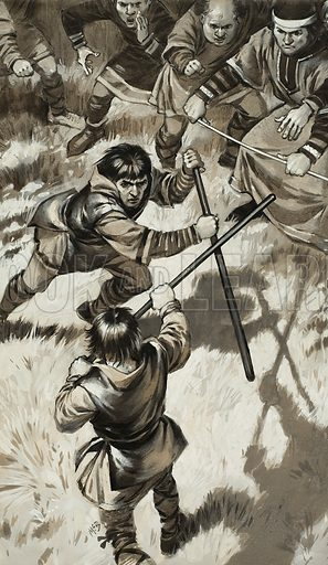 Rough Justice.  Many land disputes were settled at trials by battle.  Two champions were chosen to do the fighting, and the battle went on until one was beaten or conceded defeat.  Original artwork for illustration on p12 of Look and Learn issue no 1003 (30 May 1981).  Lent for scanning by The Gallery of Illustration.
