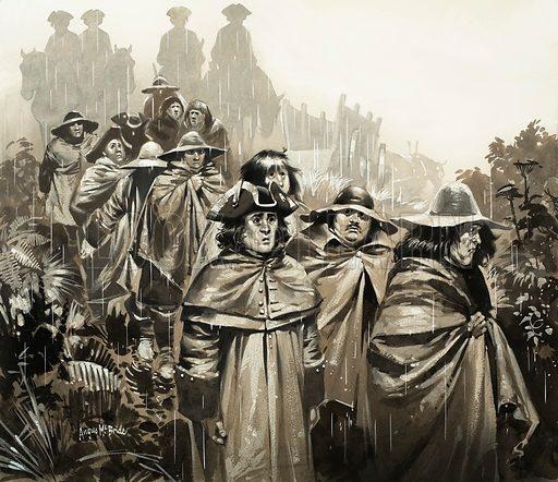 Men in the rain (illustration, picture, artwork: Angus McBride)
