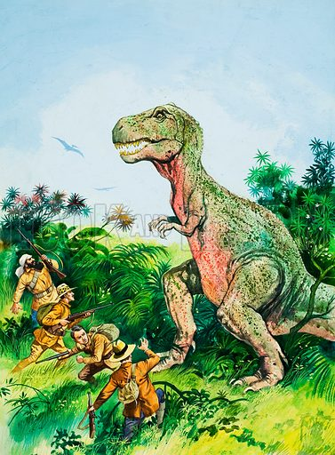 Tyrannosaurus Rex confronting men.  Original artwork for Look and Learn (issue yet to be identified).  Lent for scanning by The Gallery of Illustration.
