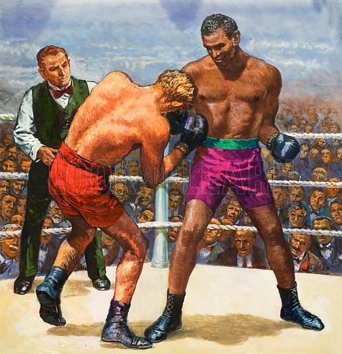 Boxing.  Original artwork for cover of Look and Learn issue not 675 (21 December 1974).  Lent for scanning by The Gallery of Illustration.