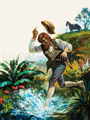Man running into a stream. Original artwork for Look and Learn (issue yet to be identified).