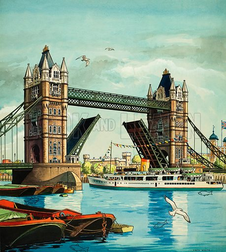Tower Bridge, with hidden fish.  Original artwork from Jack and Jill  or Playhour (issue yet to be identified).  Lent for scanning by The Gallery of Illustration.