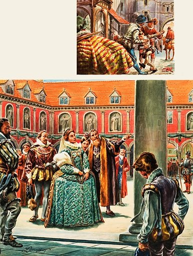 Queen Elizabeth I visits the Royal Exchange.  Inset:  Young Tom Clifton is seized on his way to school at Newgate in one of the strangest ever kidnapping cases.  Original artwork for illustrations on p5 of Look and Learn issue no 70 (18 May 1963).  Lent for scanning by The Gallery of Illustration.