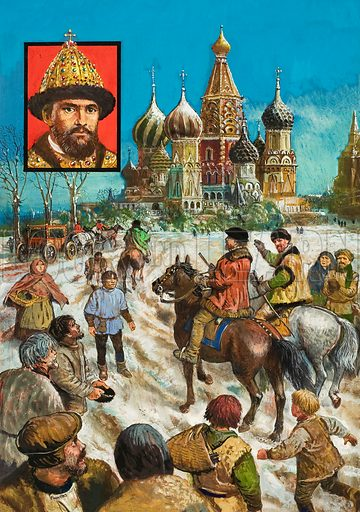 Richard Chancellor in Moscow.  Chancellor was impressed by the sights of Moscow, especially St Basil's Cathedral, which was founded by Ivan the Terrible in 1554 (portrait in inset).  Lent for scanning by The Gallery of Illustration.