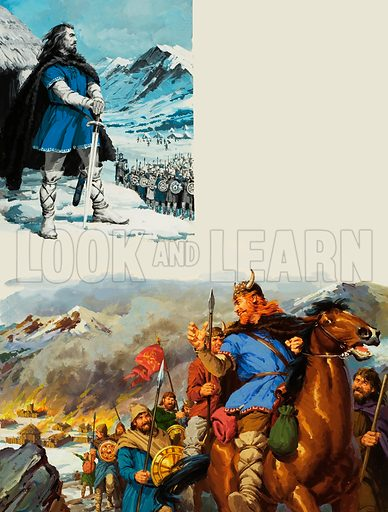 Vercingetorix.  In the mountains of central France the Gauls discovered a leader.  His name was Vercingetorix.  Behind him, he left the smouldering ruins of towns, deliberately burned so that the Romans would have nowhere to rest.  Original artwork for illustrations on pp10-11 of Look and Learn issue no 663 (28 September 1974).  Lent for scanning by The Gallery of Illustration.