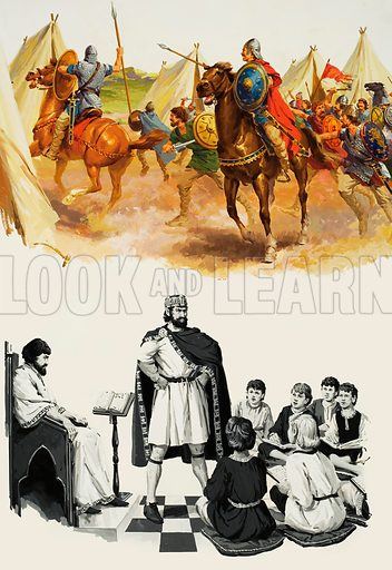 Charlemagne.  Top: The Christians fell upon the muslim camp, only to discover that during the might the invaders had fled.  Bottom:  Charlemagne founded schools for the sons of nobles and when he heard one day that a particularl class had not been paying attention to their work, he went himself and lambasted them for their idleness.  Original artwork for illustrations on pp11-12 of Look and Learn issue no 664 (5 October 1974).  Lent for scanning by The Gallery of Illustration.