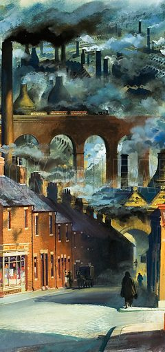Factory chimneys belching out pollution in a British industrial town. When the factory chimneys of the industrial revolution began to belch out smoke, a black pall hung almost perceptually over the grimy towns, bringing disease and death. Original artwork for illustration on p18 of Look and Learn issue no 961 (9 August 1980).