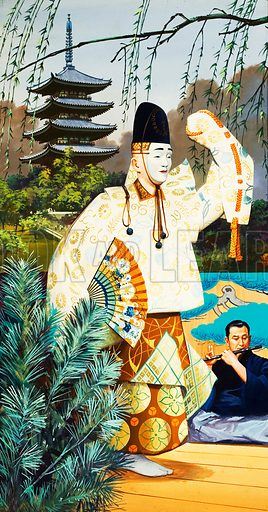 Japanese Noh dancers.  They wear masks, and great use is made of the wide sleeves of the costumes they wear to indicate the personalities of the characters they are portraying.  Original artwork for illustration on p11 of Look and Learn issue no 334 (8 June 1968).  Lent for scanning by The Gallery of Illustration.