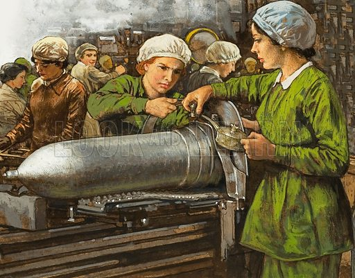 Women working in a munitions factory in World War I.