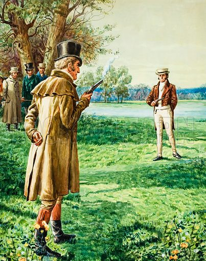 The Duke of Wellington's and Lord Winchelsea's duel. Arguing over the political rights of Roman Catholics, the Duke of Wellington challenged Lord Winchelsea to a duel.