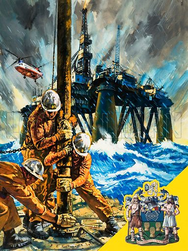 North Sea Oil.  Original artwork for cover of Look and Learn issue no 1038 (30 January 1982).  Lent for scanning by The Gallery of Illustration.