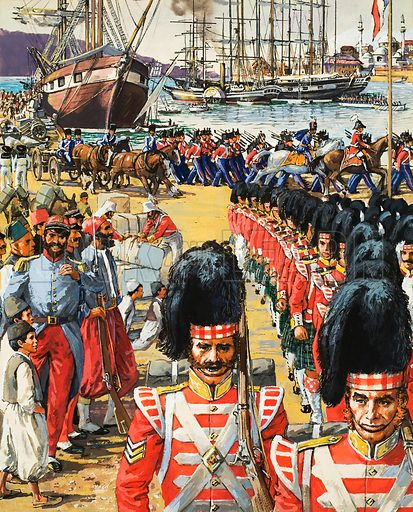 British troops disembarking.  Original artwork for Look and Learn (issue yet to be idnentified).  Lent for scanning by The Gallery of Illustration.