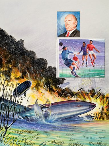 Air crash in which the Manchester United team was killed.  Inset: A hard fought draw against Red Star, Belgrade had secured Manchester United (in the red shirts) a place in the semi final of the European Cup.  Original artwork for Look and Learn (issue yet to be identified).  Lent for scanning by The Gallery of Illustration.