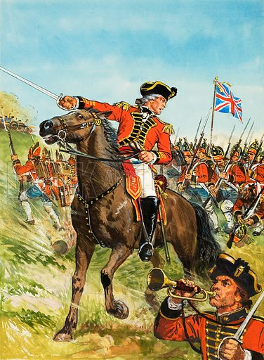 General John Burgoyne was resolved to die rather than submit to terms which would be repugnant to national or personal honour.  But as it happened he lived - to become, of all things, a successful writer for the theatre.  Original artwork for cover of Look and Learn issue no 569 (9 December 1972).  Lent for scanning by The Gallery of Illustration.