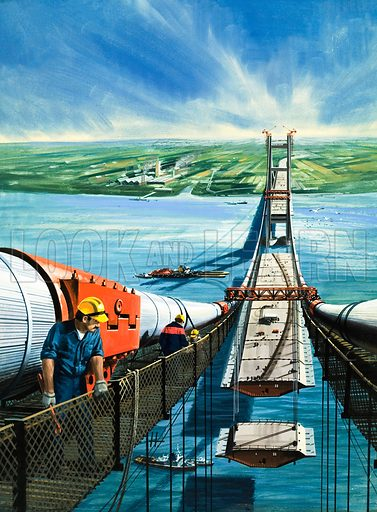 Humber Estuary Bridge Under Construction.  Original artwork for cover of Look and Learn issue no 994 (28 March 1981).  Lent for scanning by The Gallery of Illustration.