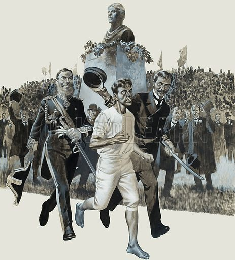 Marathon. Two Greek princes dashed down from the Royal Box and proudly escorted the runner for the last hundred yards. Original artwork for illustration on pp24–25 of Look and Learn issue no 191 (11 September 1965).