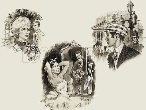 Sir Compton Mackenzie's Novels.  Top left: Guy and Pauline.  Top right: Sinister Street.  Bottom: Carnival.  Original artwork for illustrations on p18 of Look and Learn issue no 170 (17 April 1965).  Lent for scanning by The Gallery of Illustration.
