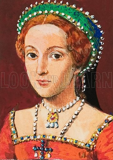 Queen Elizabeth, as a young woman.  Original artwork for (black and white) illustration on p30 of Look and Learn issue no 1003 (30 May 1981).  Lent for scanning by The Gallery of Illustration.