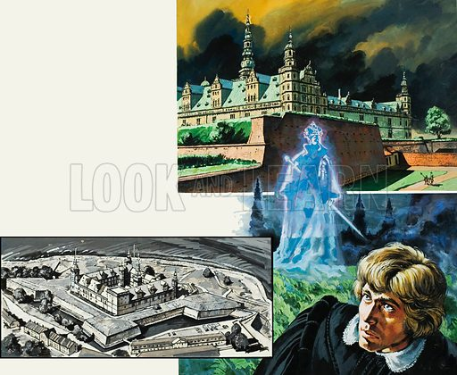 Hamlet's Father's Ghost.  The ghost of Hamlet's father may have existed only in legend - but thousands of people flock to Denmark's Kronborg Castle in the hope of seeing Shakespeare's most tragic creation.  Original artwork for illustration on pp6-7 of Look and Learn issue no 919 (1 September 1979).  Lent for scanning by The Gallery of Illustration.