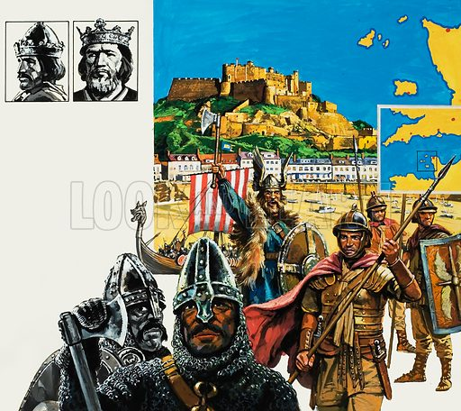 The Channel Islands.  Today they are steadfastly British, but in days gone by the Channel Islands have suffered conquest by the Romans, Vikings, Normans - and the Germans.  Original artwork for illustration on pp14-15 of Look and Learn issue no 953 (26 April 1980).  Lent for scanning by The Gallery of Illustration.