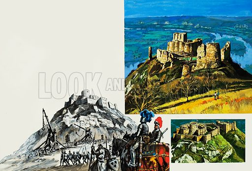 Chateau Gaillard.  Built to safeguard English territory in France, the Chateau Gaillard instead became the scene of an unforgettable catastophe.  Our picture shows siege engines being set up by King Philip of France in preparation for an attack on the castle which the English considered impregnable.  Original artwork for illustration on pp30-31 of Look and Learn issue no 929 (10 November 1979).  Lent for scanning by The Gallery of Illustration.