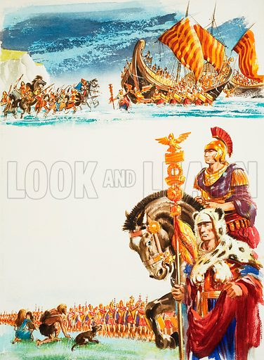 Roman Army. Original artwork for Look and Learn (issue yet to be identified).